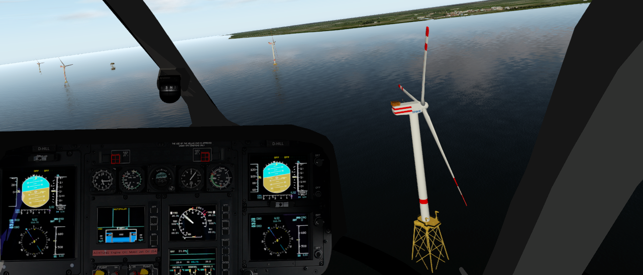 Blick aus dem Cockpit beim Flug über den Off-Shore-Windpark