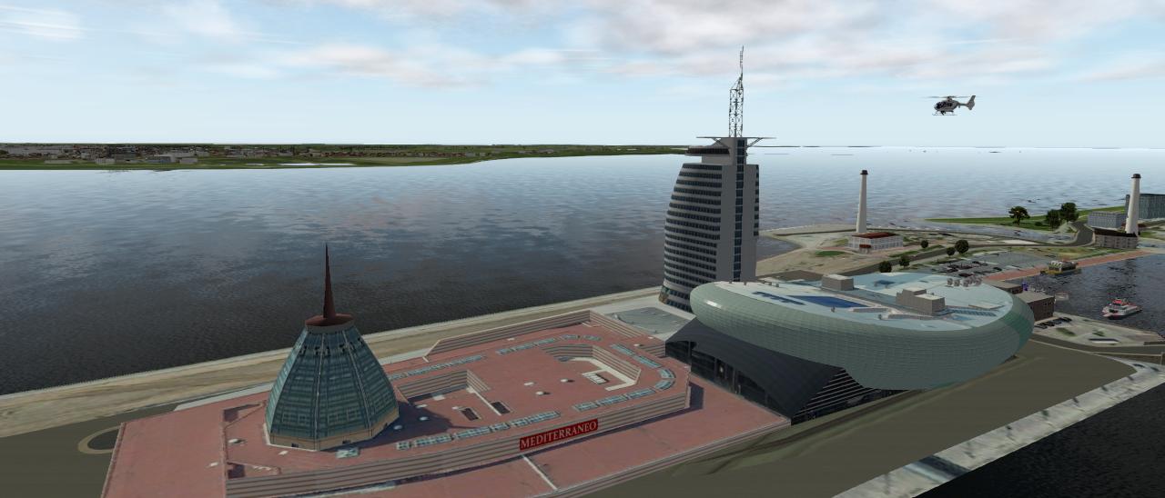 Anflug der EC 135 V3 beim Klimahaus Bremerhaven