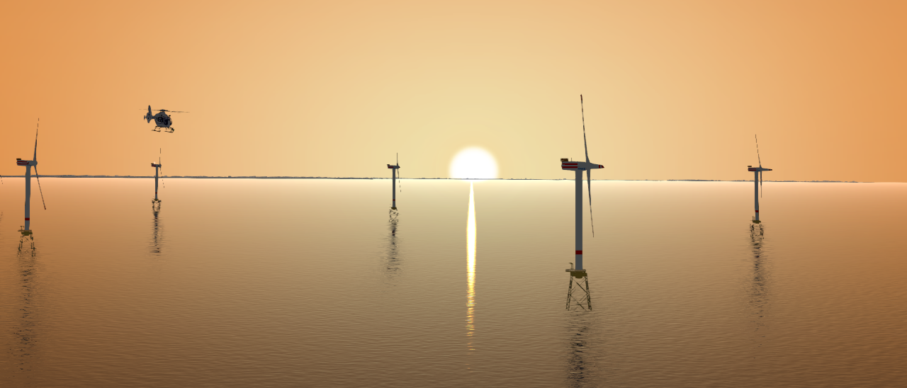 Abendstimmung im Off-Shore-Windpark