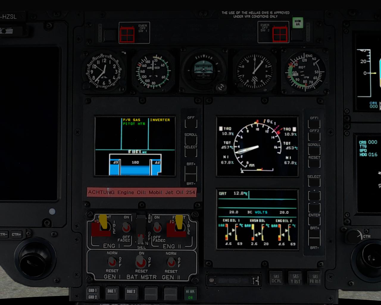 CAD, VEMD und Standby-Instrumente der EC 135 V4